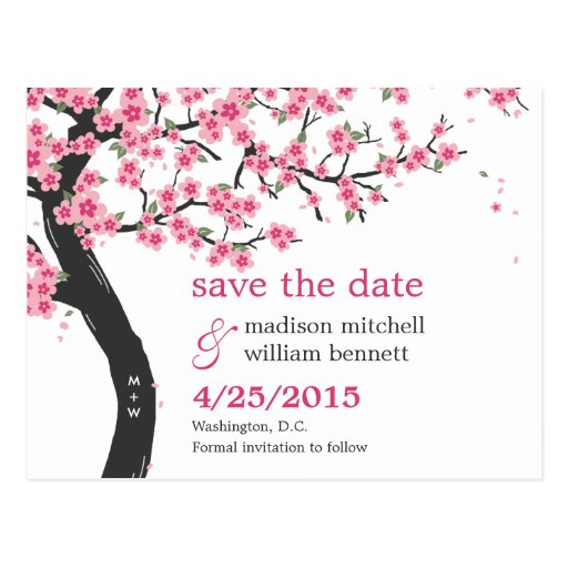 Cherry Blossoms Save The Date Postcard Postcards