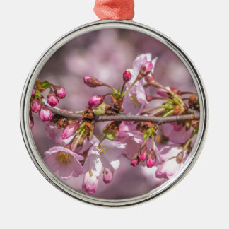 Cherry Blossoms Silver-Colored Round Ornament