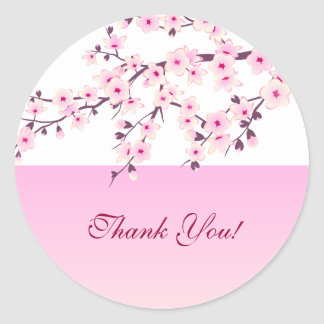 Cherry Blossoms Thank You Sticker
