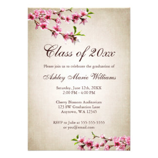 Cherry Blossoms Vintage Tan Graduation Personalized Invitations