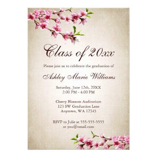 Cherry Blossoms Vintage Tan Graduation Personalized Invitations