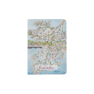 Cherry Blossoms Washington DC Painterly Watercolor Passport Holder