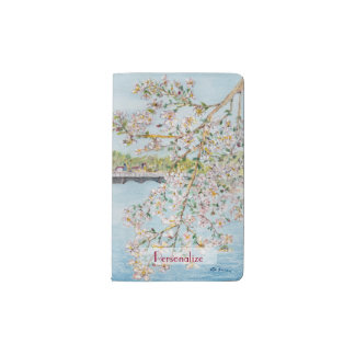 Cherry Blossoms Washington DC Painterly Watercolor Pocket Moleskine Notebook