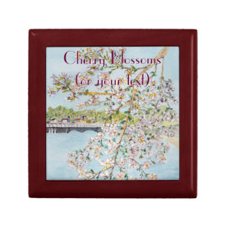 Cherry Blossoms Washington DC Painterly Watercolor Trinket Box