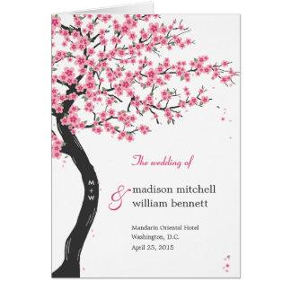 Cherry Blossoms Wedding Program Card