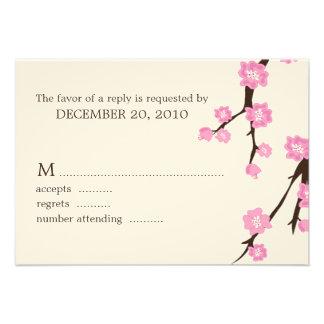 Cherry Blossoms Wedding Response Cards Invite
