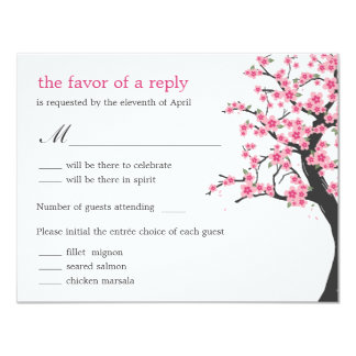 "Cherry Blossoms Wedding RSVP Card 4.25"" X 5.5"" Invitation Card"
