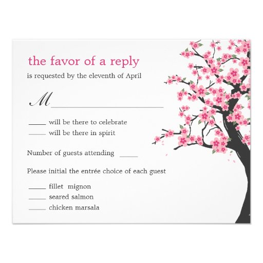 Cherry Blossoms Wedding RSVP Card Custom Invitation