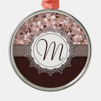 Cherry Blossoms with Lace Monogram Silver-Colored Round Ornament