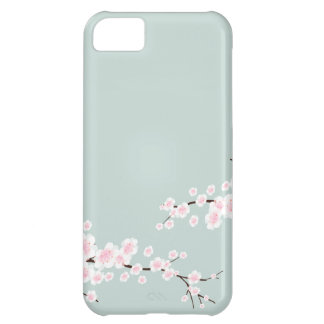 Cherry Blossoms with Mint Green Background iPhone 5C Cases