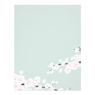 Cherry Blossoms with Mint Green Background Personalized Letterhead