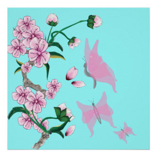 Cherry Blossoms with Pink Butterflies Poster