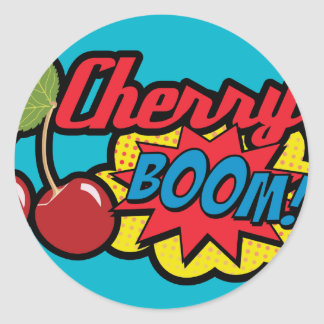 Cherry Boom! Classic Round Sticker