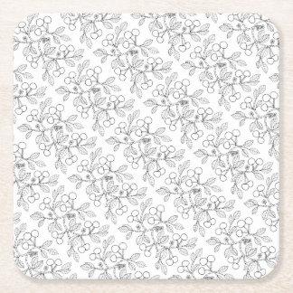 Cherry Branch Line Art Design Square Paper Coaster