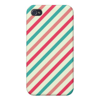 Cherry candy pink and minty blue  stripes covers for iPhone 4