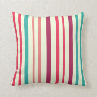 Cherry candy pink and minty blue stripes pillow