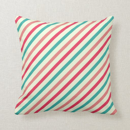 Cherry candy pink and minty blue stripes pillows