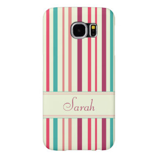 Cherry candy pink and minty blue stripes samsung galaxy s6 cases