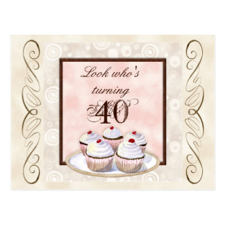 Cherry Cupcake 40th Birthday Party Invitation Postcard