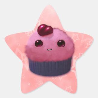 Cherry Cupcake Star Sticker
