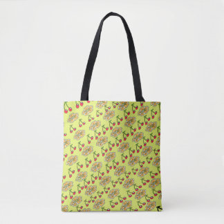 Cherry Flower Pattern Design in Yellow Tote Bag