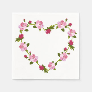 Cherry Flowers Heart Disposable Napkin