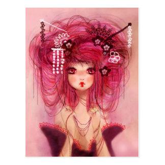Cherry geisha postcard