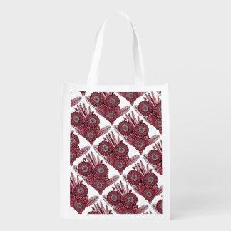 Cherry Gerbera Daisy Flower Bouquet Reusable Grocery Bag
