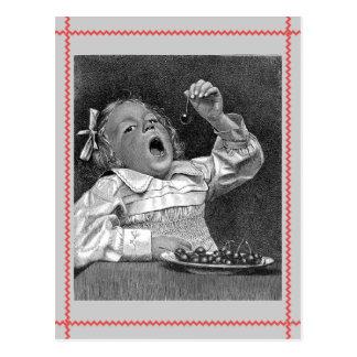Cherry Guilt Retro Postcard
