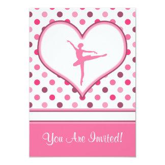 "Cherry Inspired Pink Polka-Dots Ballet Dancer 5"" X 7"" Invitation Card"
