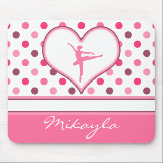 Cherry Inspired Pink Polka-Dots Ballet Dancer Mouse Pad
