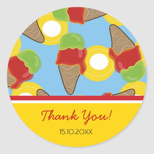 Cherry & Lime Ice Cream Birthday Party Sticker