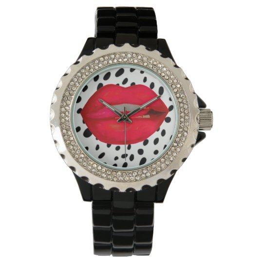 Cherry lips leopard rhinestone wrist watch