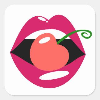 Cherry Lips Square Sticker