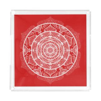 Cherry Mandala Acrylic Tray