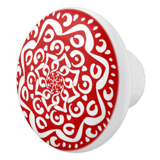 Cherry Mandala Ceramic Knob