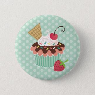 Cherry & Mint Cupcake 2 Inch Round Button