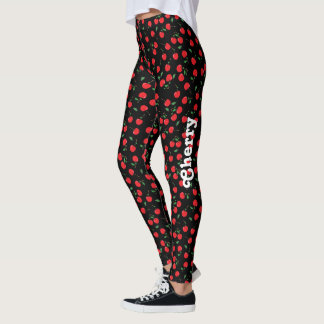 Cherry on Black with Name Leggings