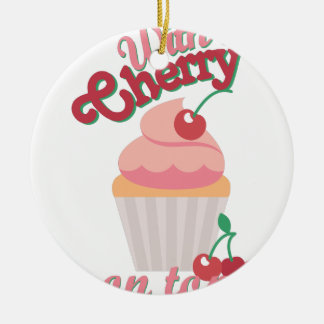 Cherry On Top Round Ceramic Ornament