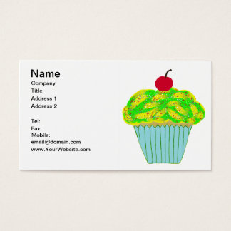 Cherry on Top Yellow and Green Vanilla Cupcake Business Card