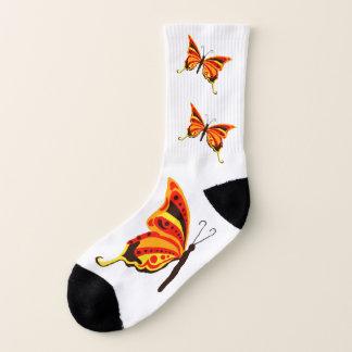 Cherry Orange and Yellow Butterflies Socks