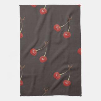 Cherry Pair Pattern (Dark Chocolate) Kitchen Towel