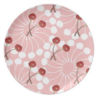 Cherry Pair Pattern (White Chocolate + Strawberry) Plates