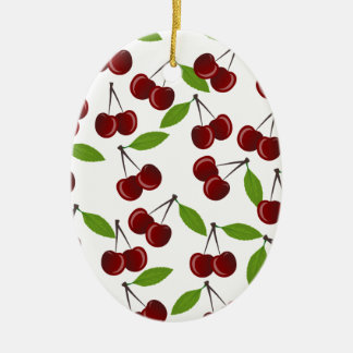 Cherry pattern ceramic oval ornament