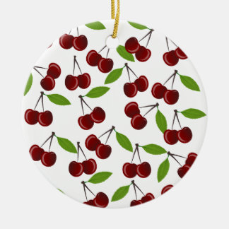 Cherry pattern round ceramic ornament