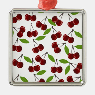 Cherry pattern Silver-Colored square ornament
