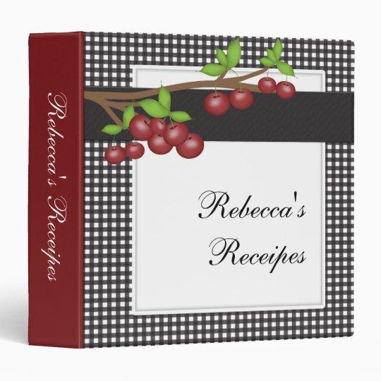 Cherry Pie Personalize Receipe Book Binder