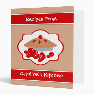 Cherry Pie Personalized Receipe Book Binder