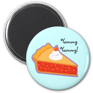Cherry pie with whipped cream 2 inch round magnet