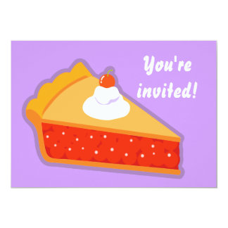 """Cherry pie with whipped cream 5"""" x 7"""" invitation card"""